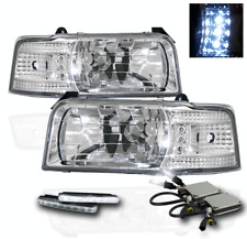1992-1996 FORD F150 F250 F350 BRONCO 1PC CHROME LED HEAD LIGHT+DRL KIT+6000K HID