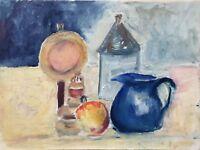Oil Painting Still Life With Kerosene Lamp, Mug And Apple 15 11/16x11 13/16in