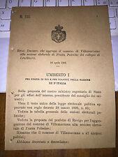 REGIO DECRETO AGGREGA VILLAMARZANA A SEZ FRATTA POLESINE COLLEGIO LENDINARA