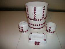 New listing 4 Pc White With Burgundy Trim Bathroom Wastebasket Sets