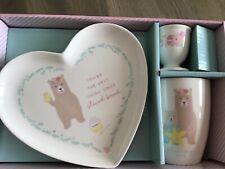 CHILDRENS BREAKFAST SET MUG HEART SHAPE PLATE & EGG CUP BOXED BOYS /GIRLS
