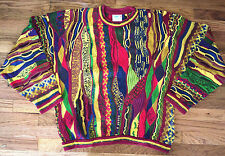 COOGI Vtg 90s COLORFUL Red YELLOW Green PURPLE Blue HIP HOP Sweater rainbow XL