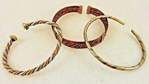 Vintage Handmade in Kenya (Set of Three) Copper African Cuff Bracelets Bangles