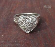 Women's Sterling Silver CZ Heart I LOVE YOU Ring Sz 6