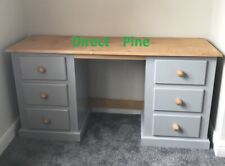 SHAFTESBURY 6 DRAWER DOUBLE DRESSING TABLE GREY/ANTIQUE PINE TOP & HANDLES