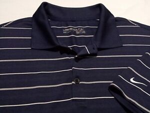 Nike Golf Dri-Fit Mens 2XL Short Sleeve Blue Striped Athletic Polo Golf Shirt