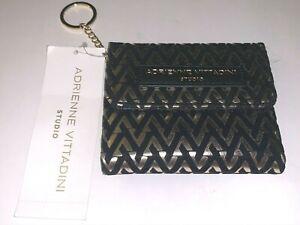 Adrienne Vittadini Studio Black Gold  LEGACY FLOCKING METALLIC COIN PURSE Wallet