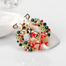Cute Crystal Christmas Deer Pattern Women Girl Brooch Pin Fashion Jewelry Gift