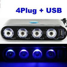 USB Port 4 Way Plug Car Cigarette Lighter Socket Splitter 12V Charger Adapter #u