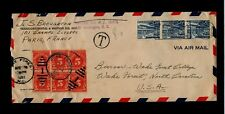 1950 Switzerland TWA envelope w/101 Champs Elysees Paris address w/6 Scott# J83
