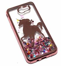 For Samsung Galaxy J7 V/Sky Pro/Prime2017 Rose Gold Unicorn Glitter Hearts Case