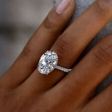 14K White Gold Over 1.50 Ct Oval Cut Halo VVS1 Diamond Engagement Wedding Ring