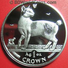 1994 Isle Of Man 1 One Crown 1oz Silver Proof Japanese Bobtail Cat Iom Coin 39mm