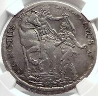 1753 ITALY Italian States LUCCA Tuscany Silver Coin SAINT MARTIN NGC i70022