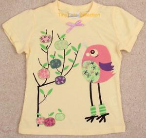 NEW with tags BNWT girls yellow lemon bird diamante tshirt top size 1