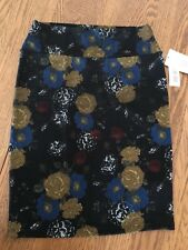 NWT LuLaRoe M Cassie Skirt Floral Roses Black Blue Yellow Red New