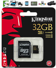 32GB ORIGINALE Kingston Scheda di memoria Micro SD classe 10 CON ADATTATORE 90MB