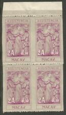 More details for cja453 macao 1953-8 charity 2a block of 4 imperf vertically unmounted no gum