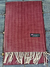 100% Cashmere Scarf BURGUNDY Herringbone Tweed  Made in Scotland Warm NEW