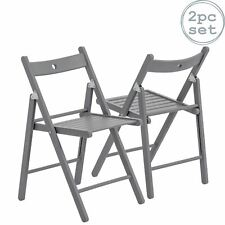 Folding Chairs Wooden Wood Studying Dining Office Student Uni Chair Grey x2