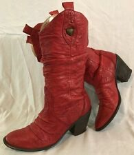 Moda In Pelle Red Mid Calf Leather Beautiful Boots Size 39 (206Q)