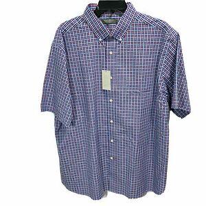 $85 Daniel Cremieux Men's Signature S/S Button Down Shirt XL Coral Blue