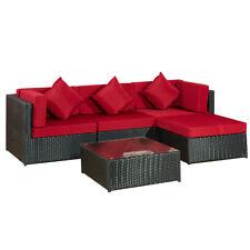 Gartenmöbel Lounge Sofa Bergen II schwarz - rot Gartenlounge Set Terasse Balkon
