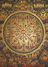 Schönes Masterpiece! Thangka Goldmalerei Buddha Mandala i Brokat 100x68