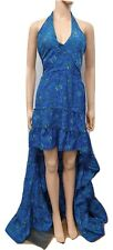High Low Maxi Dress Halter Neck Prom Bridesmaid Party Silk Blend Blue 10 12 14