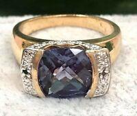 Vintage Silver w Gold Amethyst Ring-Estate Jewelry-Elegant Gemstone Ring-SS 925