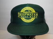 Vtg 1990s Truman Lake Deepwater Boat Ramp Advertising Snapback Trucker Hat Cap