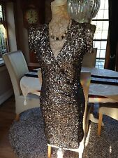 DESIGNER FRENCH CONNECTION FCUK SAMANTHA ALEXIS SILVER GREY SEQUIN DRESS 10 38