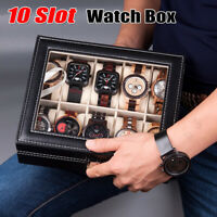 10 Slot Men Woman Watch Box Leather Display Case Organizer Glass Jewelry Storage