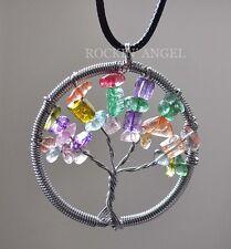 Mixed Crystal Quartz Gemstones Tree Of Life Pendant Necklace Reiki Healing Gift