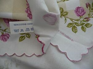 Valentino Tablecloth 8 Napkins NEW Cantoni ROSES LATTICE Made in ITALY Signed