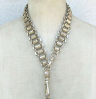 Antique silver book chain necklace lanyard charm holder collar wide links etched