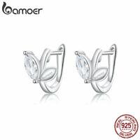 BAMOER Women Stud Earrings S925 Sterling Silver AAA Zircon The leaves Jewelry