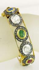 Victorian 15.74ct Genuine Diamond Sapphire Ruby Emerald 18K 925 Bangle Bracelet