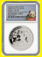 2016 China 2-oz Silver Smithsonian Bei Bei Panda NGC PF70