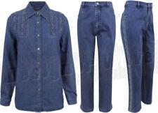 Hauts et chemises pantalons bleus pour femme