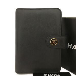 CHANEL Coco Button Black Leather Agenda Notebook Cover /B0691