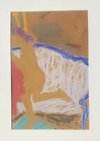 George Segal Expressionist Pastel Drawing. Nude  Woman On Couch. Signed. 1957