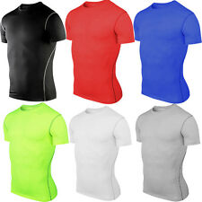 Mens Compression Under Base Layer Thermal Shirts Tops Gym Running Tight T-Shirts