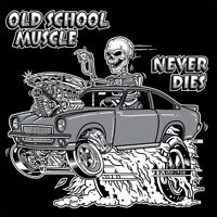 OUTLAW OLD SCHOOL HOT ROD DRAG MUSCLE RACE CAR BLOWER SKULL T-SHIRT