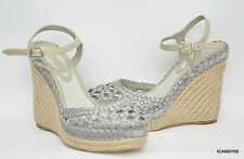 Elie Tahari Woven Satin Wedge Slingback Sandal Pump Shoe Heel Grey 5/35 New