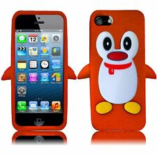 For Apple iPhone 5 5S SE Rubber SILICONE Soft Gel Skin Case Cover Penguin Orange
