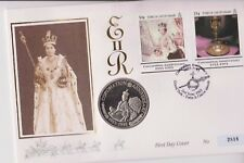 TURKS & CAICOS ISLANDS PNC COIN COVER 5 CROWNS QEII 40TH ANNI CORONATION 2818