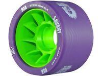 Atom Wheels - set of 4 - Savant derby wheels 59 x 38mm - 93a purple / green