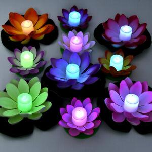 Floating Powered LED Lotus Flower Light Pool Garden Landscape Lamp Outside 2020