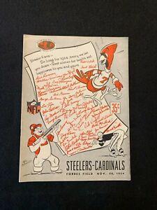1954 NFL Football Program Pittsburgh Steelers VS Chicago Cardinals November 28TH